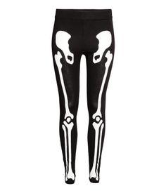 Jerseyleggings | Schwarz/Skelett | Damen | H&M DE