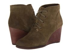 Lucky Brand lace up wedge booties in Olive Green from Zappos.com, $109.