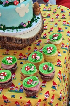 Gnome themed birthday party. Brings back memories of David the Gnome!