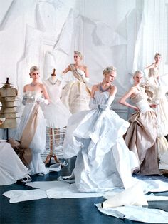 "Paper dresses created by Rhea Thierstein in ""The One and Only"" by Tim Walker for Vogue May 2014 homage to legendary couturier Charles James."