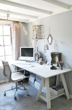 Image of an All White Workstation Made With Sawhorses