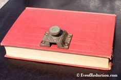 Upcycled Tea Box Made from an old book and an antique knob latch - Eve of Reduction