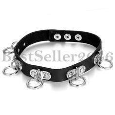 Leder Halskette Halsband Choker Schwarz Silber Rund Nieten O-Ring Gotik  Nieten, Modeschmuck, 2df1bc77f4