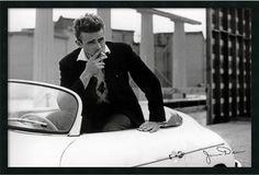 """0-007340>25x37"""" James Dean White Car Framed Art Gel Coated"""