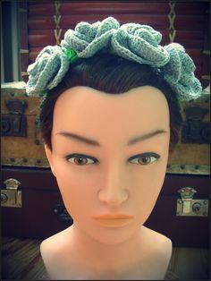 Bandeau mexicain, couronne de fleurs grises au crochet : Accessoires coiffure…