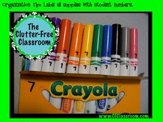 Clutter-Free Classroom Organization Tip: Numbering Student Supplies. Also another good idea mentioned in the comment section - each student has a ziplock bag with their name on it. Teacher stores it - when supplies run low, send it home for parents to replenish the items.