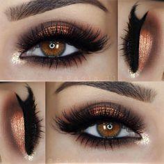 """""""__ •• Eyeshadows: @morphebrushes 35O palette __ •• Liner: @motivescosmetics Little Black Dress __ •• Lashes: @pinkygoatlashes Dalal and Sabrina"""""""