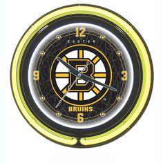 Trademark Commerce NHL1400-BB NHL Boston Bruins Neon Clock - 14 inch Diameter