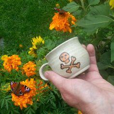 Mug with Orange skull. by Skullsandbonesmugs on Etsy
