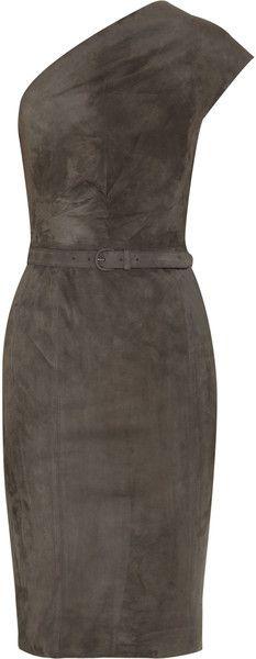 RALPH LAUREN COLLECTION SUEDE MOON Doris One-shoulder Suede Dress