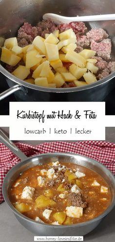 Heute zeige ich dir meinen Kürbistopf mit Hack und Feta! Easy, schnell und der hat wirklich perfekte Nährwerte #Kürbis #Kürbistopf Hacksuppe #Kürbiseintopf #Bauerntopf #LowcarbBauerntopf #fitnessreceipe #abnehmen #Proteinbombe #gesunderSnack #Lowcarb #keto Feta, Essential Fatty Acids, Vitamin E, Low Carb Recipes, Good Food, Pumpkin, Nutrition, Hacks, Easy