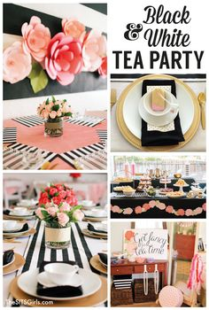 Traditional afternoon tea meets little girl birthday party in this Black & White Tea Party. Check out the cute decor, yummy food, fun party craft, and more!