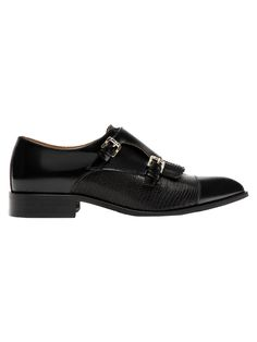 Black leather double buckle shoes. Double gold buckle detail on side. Combined embossed leather and glossy finish cowhide.