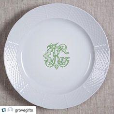 Explore modern to everyday vintage dishes perfect for your wedding registry. Custom monogrammed white china dinnerware made just for you! Choose from 5 colors & 3 fonts at https://www.sashanicholas.com/shop-all/weave-monogrammed-charger-dinner-plate-12/ | Custom Monograms Crests | Heraldry | Designs for Weddings | Dinnerware | China