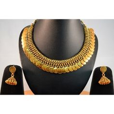 Beautiful Coin Necklace Set with Jhumkis  POS278  - Earrings by Vastradi