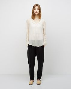 Raquel Allegra / Long Sleeve Silk Blouse Isabel Marant Étoile / Sefton Tank Raquel Allegra / Linen Easy Pant  Riudavets / Basket Weave Avarca Sandal #ss14