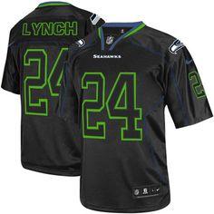 Men's Nike Seattle Seahawks #24 Marshawn Lynch Elite Lights Out Black NFL Jersey