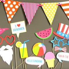 Grab some summer inspired photo booth props to spice up your next party. They're perfect for a neighborhood block party, summer birthday or just anytime!