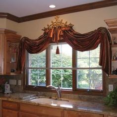 Great ideas for different window treatments!  Drapery crowns too....interior visions - Changes~ Big and Small