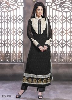 Amazing Black Georgette Embroidery Work Churidar Suit