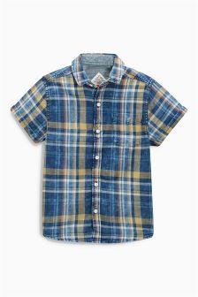 Next Indigo Short Sleeve Check Shirt (3-16yrs) £13.50