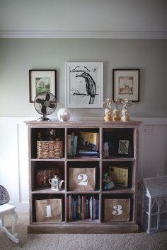 Cute bookcase arrangement via Project Nursery. #laylagrayce #PinAtoZ