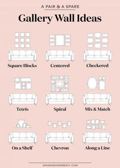 One pair & one spare part 9 ways to lay out your gallery wall # . - One pair & one spare part 9 options for the layout of your gallery wall # Gallery furniture - Gallery Wall Layout, Gallery Walls, Living Room Gallery Wall, Picture Wall Living Room, Living Room Wall Ideas, Living Room Designs, Living Room Pictures, Small Living Rooms, Home Wall Decor