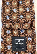 IKE BEHAR New York MENS TIE 100% Silk FLOWERS GEOMETRIC Brown Blue Gold NECKTIE