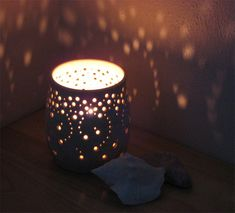 "NEW Handmade Ceramic Luminary in Natural Speckled Cream:  ""Falling Stars"" (Large size, Tall). on Etsy, $52.00"