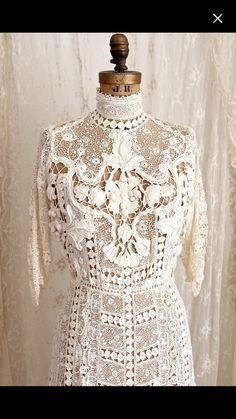 Antique Irish Crochet lace Dress.
