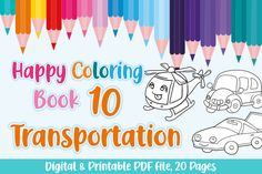This is a digital & printable coloring book for kids or Kindergarten students.Happy Coloring Book 10, Theme: Transportation, 20 different... Graphic Design Pattern, Graphic Patterns, Coloring Pages For Kids, Coloring Books, Graphic Illustration, Illustrations, Printable Coloring, Design Crafts, Paper Size