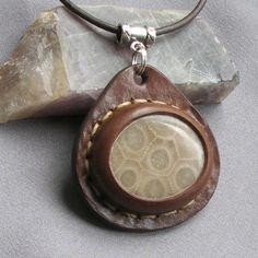 Petoskey Stone and Leather Pendant Necklace - Coral Fossil - Michigan's State Stone - Earth Medallion