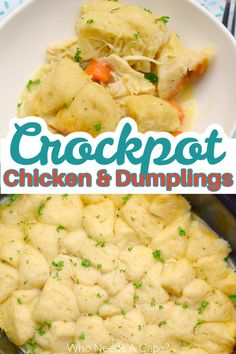 Crockpot Chicken & Dumplings is a delicious comforting meal straight from your slow cooker. Full of flavor, your family will love this easy meal for dinner. Slow Cooker Freezer Meals, Slow Cooker Recipes, Crockpot Recipes, Chicken Recipes, Easy Dinner Recipes, Easy Meals, Crockpot Chicken And Dumplings, Comfort Foods, Poultry