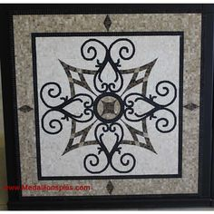 "KRISTINE II, 36"" Square Mosaic Medallion - Polished - MedallionsPlus.com - Floor Medallions on Sale. Tile, Mosaic, & Stone Inlays."