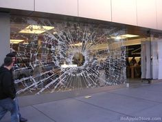 Retail: This Apple store window display reminds some of us of our iPhone screens.