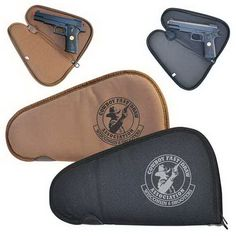 Single pistol bag made of 600D polyester. Non woven lined padded main compartment zipper closure. D-ring on the end.
