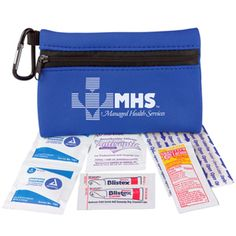 Neoprene zip bag with 50mm carabiner contains: three sunscreen packets, two Blistex packets, two latex-free adhesive bandages, one antiseptic towelette, and two wash-up towelettes.Polyester