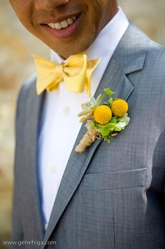 Andrew accented his yellow bow tie with a boutonniere featuring a succulent and yellow craspedia pods.