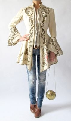 One Vintage. rococo / baroque jacket, wear with tight cream or gold midi pencil skirt and tall pumps. NOT jeans