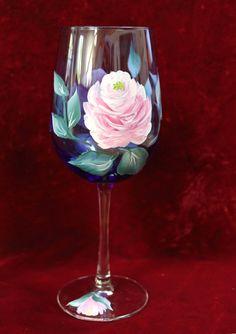Copas de vino pintado juego de 2  Vintage rosa en mano