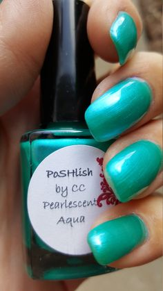 Unique Pearlescent Aqua Nail Polish Full Size 15ml Bottle by PoSHlish on Etsy