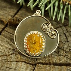 Spider iside  Baltic amber insect pendant / necklace  by Ankanate