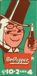 Old Doc holding a 10- 2 - 4 bottle with the 1930s Dr Pepper logo below