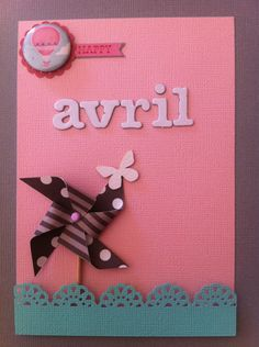 Handmade card for a new borned girl, Avril :)