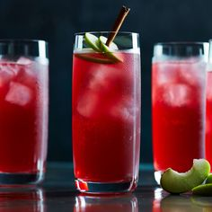 Red Palms | Williams-Sonoma,  1 1/2 oz. (45 ml) Becherovka ICzech herbal liqueur), 1 1/2 oz. (45 ml) black currant juice, preferably unsweetened 2 oz. (60 ml) ginger beer 3 green apple slices for garnish