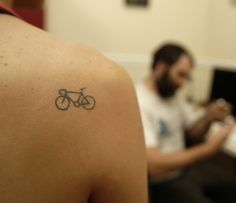 "Tiny Bike Tattoo... would add the words ""Stay balanced"""