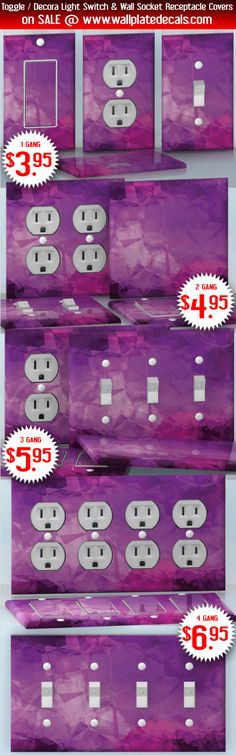 DIY Do It Yourself Home Decor - Easy to apply wall plate wraps | The Surface of Love  Purple glass image  wallplate skin stickers for single, double, triple and quadruple Toggle and Decora Light Switches, Wall Socket Duplex Receptacles, and blank decals without inside cuts for special outlets | On SALE now only $3.95 - $6.95