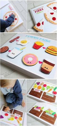Food Quiet Book Printable. Such a great idea for keeping toddlers busy with fun sorting/matching/ activities