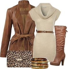★ cognac leather coat and boots with cream sweater dress and animal print clutch. love.