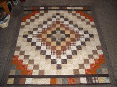 Brown Trip Around the World Quilt. Made by Angela Spradlin. Hillside Hobby Quilts on Etsy